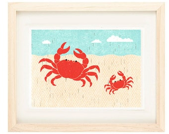 Crabs Summer Illustration Beach Print for Nautical, Beach, Coastal Theme Decor, Nursery, Kitchen, Living Room Wall Art