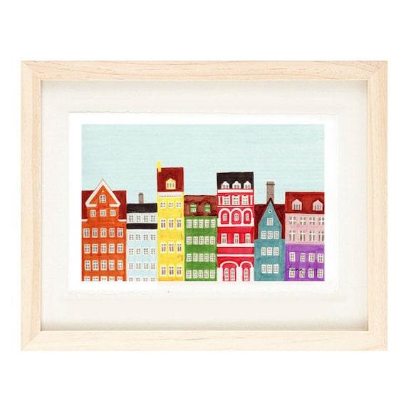 COPENHAGEN, DENMARK - Scandinavian Skyline Design Colorful Illustration Art Print Poster, Nursery, Bright, Rainbow, Bedroom, 11 x 17
