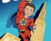 Personalized Superhero Print - Illustrated from your photo PRINTABLE FILE