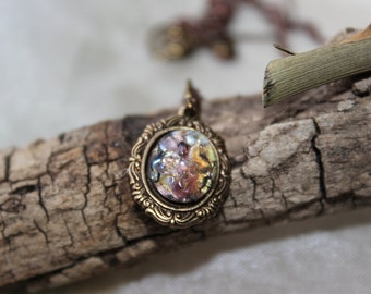 Amethyst Fire Opal Necklace, Vintage Style Necklace, Opal Necklace, Purple Necklace, Bridesmaid Necklace, Wedding, Gift, Graduation gift