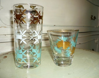 2 Vintage Blue with Golden Accent Glasses