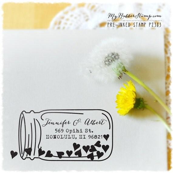 DIY Weddings (Mason Jar Custom Stamp) Calligraphy Stamp, Custom Wedding Stamp, Rubber Stamp, Stationery, Return Address (P2383)