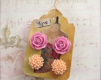Flower Earrings Pink Rose Stud Earrings Peach Chrysanthemum Earrings on Collage Tag Scrapbooking Embellishment - Sale