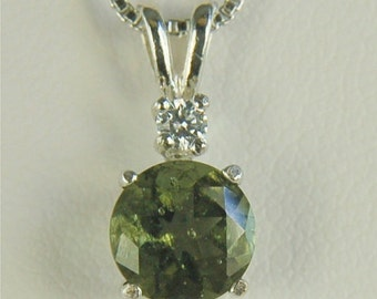 Moldavite Faceted Neclace Sterling Silver 7mm Round 1ct Natural Untreated With White Zircon Accent