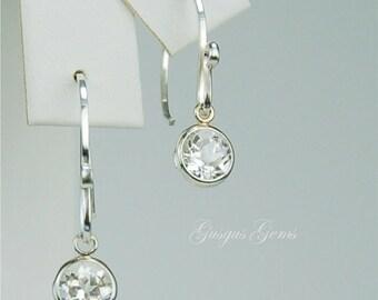 White Topaz Dangle Earrings Sterling Silver 6mm Round 2ctw