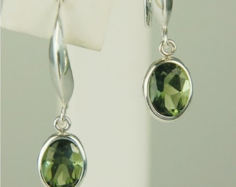 Moldavite Faceted Dangle Earrings Sterling Silver 8x6mm Oval 2ctw In Backset Drop Rare Natural Untreated