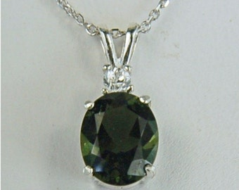Moldavite Faceted Necklace Sterling Silver 10x8mm Oval 2.10ct With White Zircon Accent Natural Untreated And Rare