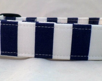 Nautical Navy Blue and Bright White Striped Dog Collar