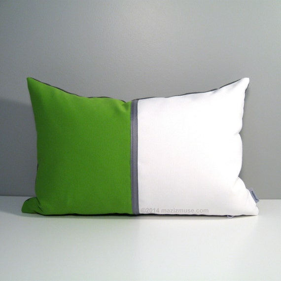 Lime Green & White Pillow Cover Modern Outdoor Pillow by Mazizmuse