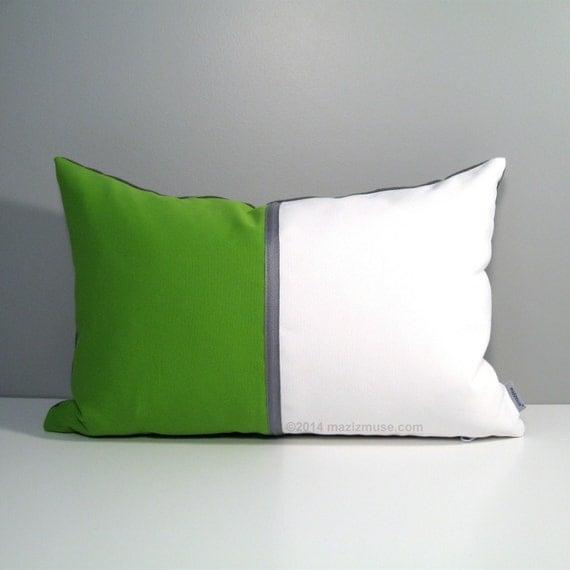 Modern Green Pillow Cover : Lime Green & White Pillow Cover Modern Outdoor Pillow by Mazizmuse