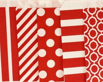Paper Bags, 24 Assorted Red Party Favor Treat Bags, Candy Bags, Cookie Bags, Holiday Treat Bags, Party Favor Bags, Wedding Favor Bag