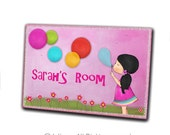 Girl blowing bubbles - personalized door sign - door sign custom - kids door signs - wooden plaque - girls art - girls prints - kids art