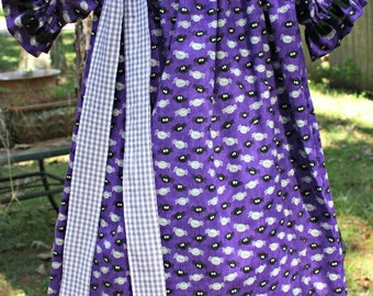 Girls Purple Spiders Halloween Peasant Dress with Detachable Bow READY TO SHIP
