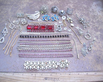 Lot of Vintage Rhinestone jewelry for parts, repair, altered art, crafts wedding bouquets, wedding decor, jewelry making etc