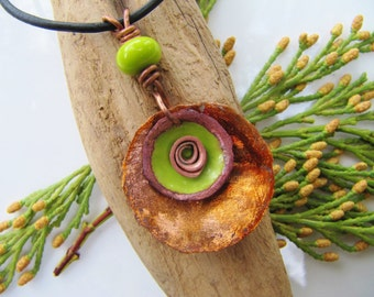 Copper Pendant with Lampwork Bead and Copper Swirl