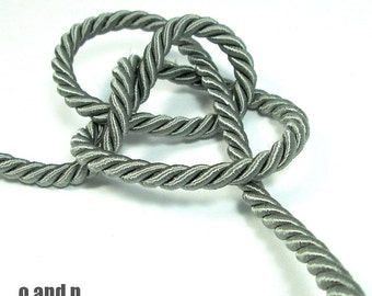Twisted silk cord, 5mm, grey satin rope, 2 meters