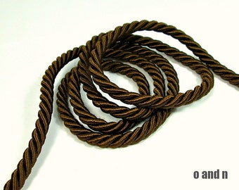 Twisted silk cord, 5mm, brown satin rope, 2 meters