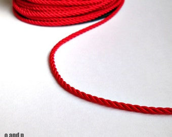 Twisted silk cord, 3mm, red satin cord, 4 meters