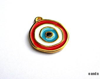 Gold plated enamel evil eye charm / pendant