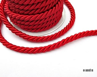 Red cord, red twisted silk cord, 9mm red silk cord, (1m)