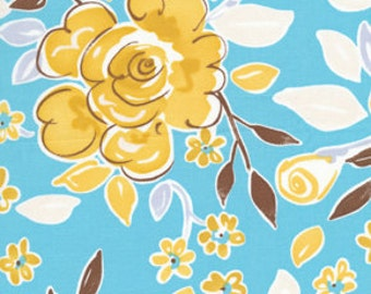 Tea Garden Fabric by Dena Designs Darjeeling Golden Yellow Floral Flowers on Blue