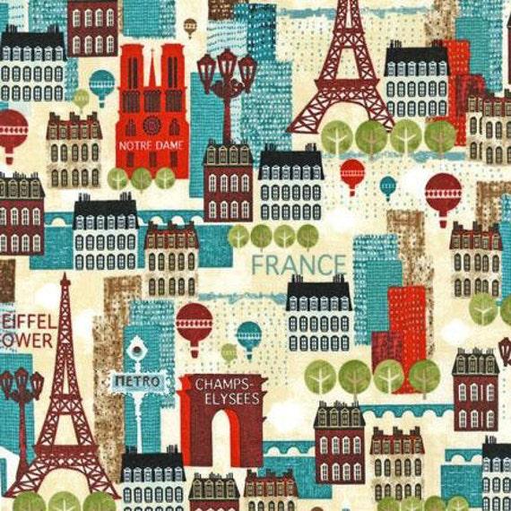 Hello Paris Fabric By Robert Kaufman Multicolored Eiffel Tower
