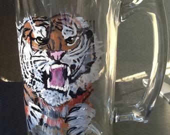 University of Missouri tiger beer mug, monogrammed, hand painted glass, glasses
