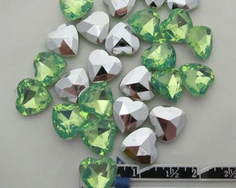 "Light Green Heart Acrylic Gems .62"" 16mm non-sew glue in faceted back - 25 total"
