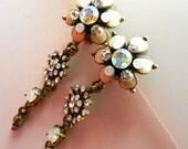 Long swaying Earrings, flowers, AB crystals , ivory enamel,  opal cabochon, 1970 vintage -- Art.103/3 -