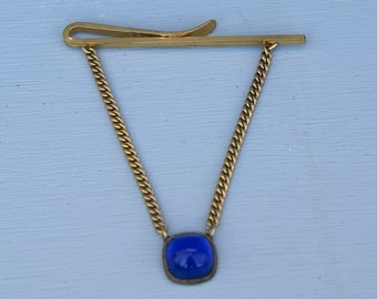 Antique Kreisler Blue Glass Tie Clip with Chain