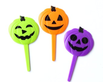 Neon Pumpkin Cupcake Picks, Jack O' Lantern Cupcake Toppers, Halloween Cupcake Picks (12) - Lime, Orange, Purple