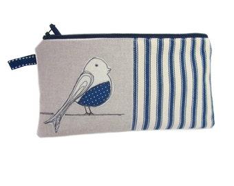 Large Pencil Case, Zip Pouch, Bird Pencil Case, Girls Pencil Case, Cute Pencil Case