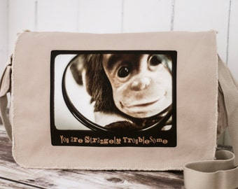 Monkey - School Bag - Canvas Bag - Messenger Bag - CUSTOMIZABLE - Natural Stone - HBO's Family Tree