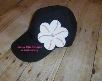 Baseball Flower Hat/Rangers Baseball Hat/Bling Baseball Hat/Boutique Style Baseball Hat/Support Your Baseball Team/Baseball Hat with Bling