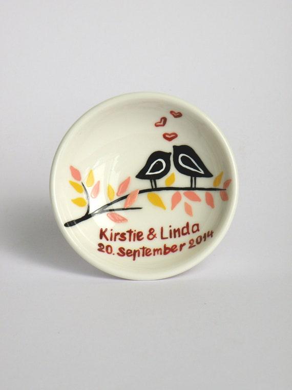 Hand painted Wedding Ring Pillow Alternative , Wedding Ring Dish Black birds on branch