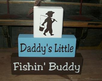 New Boys Daddy's Little Fishing Buddy Primitive Wood Sign Blocks Nursery Decor Kids Room Shower Gift