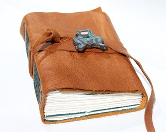 Rustic Leather Journal or Leather Sketchbook - Handmade - Frog