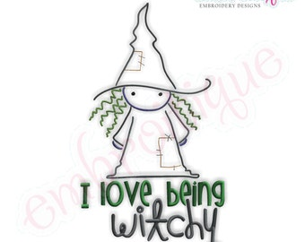 Halloween I Love Being Witchy- Instant Email Delivery Download Machine embroidery design