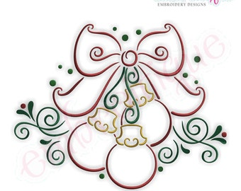 Curly Twirly Ornaments with a Bow - Large- Instant Download -Digital Machine Embroidery Design