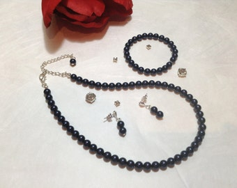 Navy Blue Pearl Necklace Set - Bridesmaid Jewelry Set - Flower Girl Pearl Gift Set - Bridal Set - Prom Jewelry - Classic 3 Piece Set