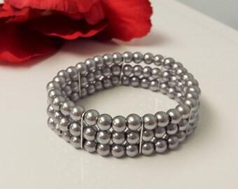 Gunmetal Gray Pearl Bridesmaid Bracelet - Triple Strand Pearl Bracelet - Triple Row Gray Bracelet - Prom Stretch Bracelet