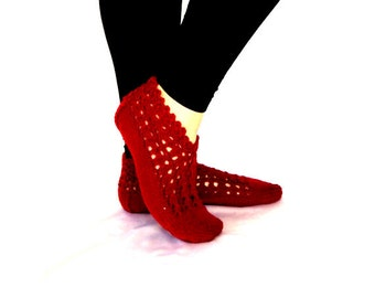 Handknitted ,Wool ,Burgundy Slippers ,Women Slippers ,Handmade slippers