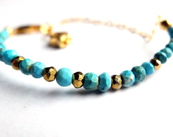 Stacking bracelet, turquoise gold, pyrite, gold vermeil heart chain, gold vermeil star charm, birthstone, dainty skinny, unique ooak