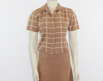 1960s Vintage Sweater Top and Skirt and Vest - Mocha with Gold Flecked Striping - Mid Century