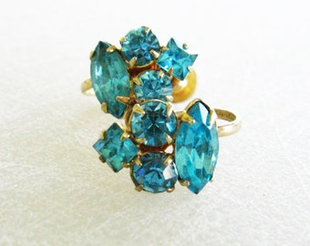 Blue Rhinestone Earrings, Coro Earrings, Blue and Gold Earrings, Gold Screw Back Earrings Signed Jewelry Light Blue Earrings Vintage Jewelry