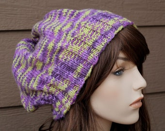Knit Hat Pattern, Knitting Pattern, Slouch Hat Pattern, Knitted Hat