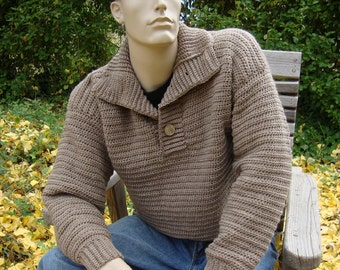 Wool Sweater, Men's Sweaters, Men's Sweater, Pullover, Tan Sweater, Brown Sweater, Optional Funnel Neck, Men's Gift, Available in M/L and XL