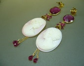 Reserved for Ilona: Real Antique Cameo Tourmaline Quartz Gold Vermeil Cluster Earrings