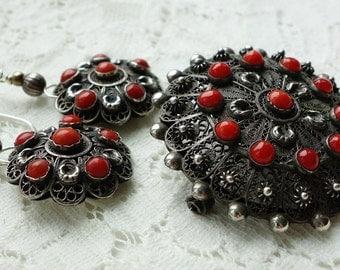 Coral 800 Silver Filigree Earrings Brooch