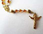 Red and Gold Holy Spirit Rosary, Confirmation Rosary with Holy Trinity